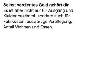 Budget- und Schuldenberatung Aargau–Solothurn: Postkarte «Lehrlingslohn» (Rückseite)