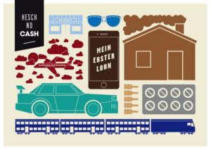 Budget- und Schuldenberatung Aargau–Solothurn: Postkarte «Der erste Lohn» (Vorderseite)