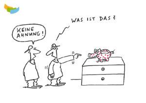 Budget- und Schuldenberatung Aargau–Solothurn: Postkarte «Sparschwein» (Vorderseite)